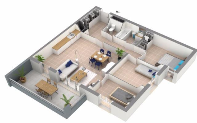 plan T4 programme immobilier neuf Ajaccio LE MUSSET