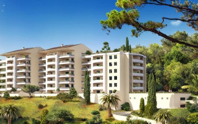 En Corse, à Ajaccio, vente d'appartements standings neufs de type F2, route des sanguinaires, grande terrasse avec vue mer