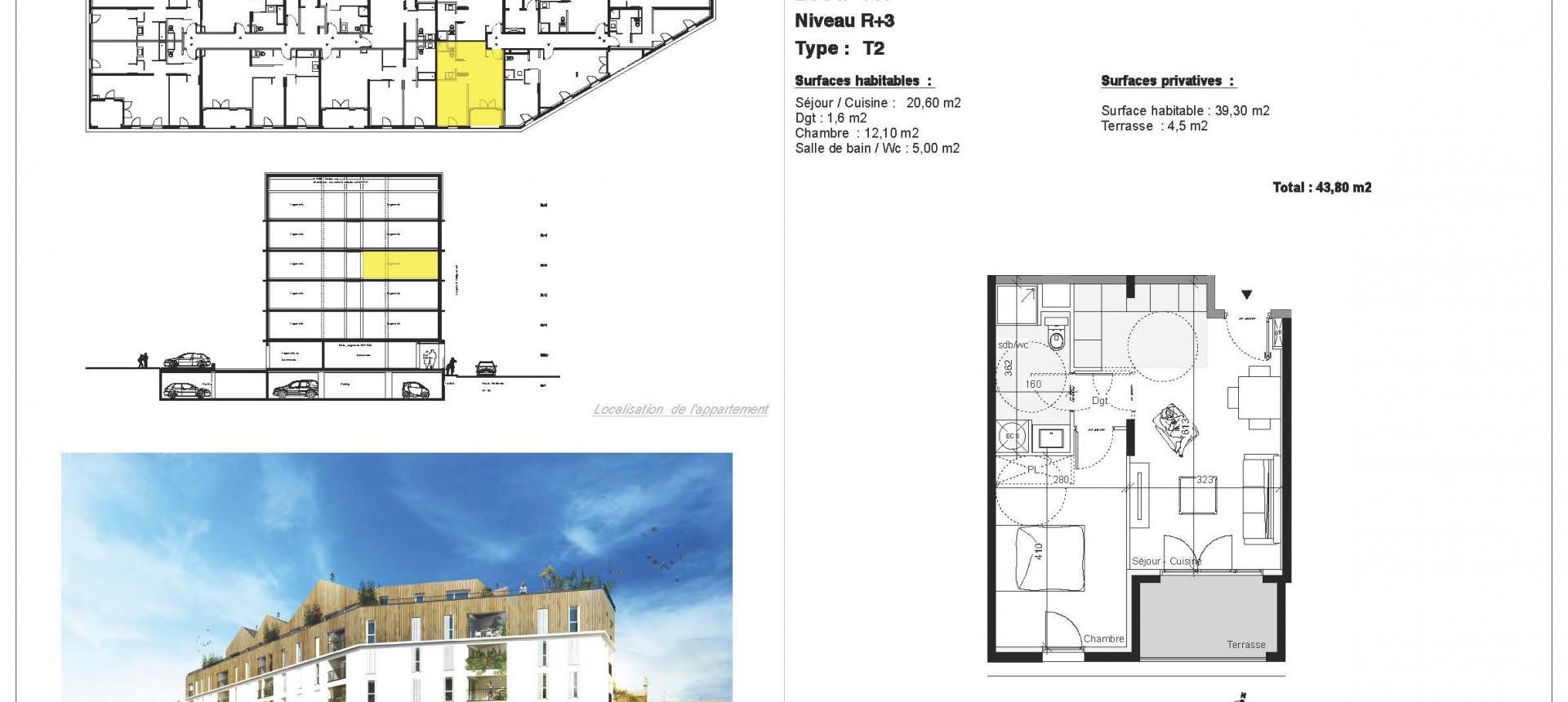 PLAN - Vente appartement T2 à Ajaccio secteur Mezzavia