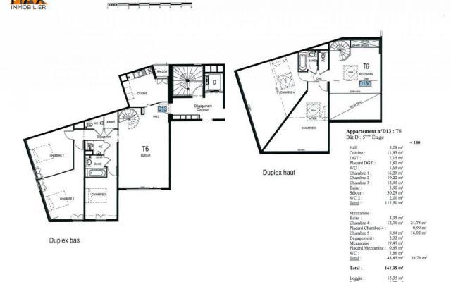 A louer F6/7 duplex neuf cours napoléon plan