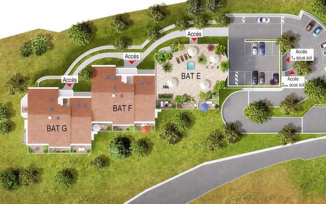 Plan de masse F5, appartements neufs, Ajaccio, En Corse, Sanguinaires