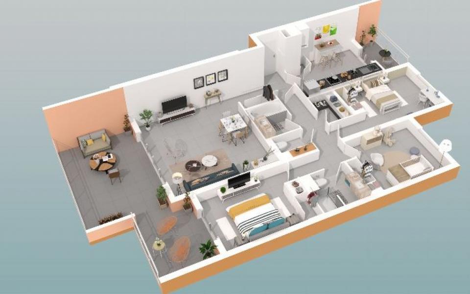 En Corse, à Ajaccio, Vente d'un T4, Programme Immobilier Neuf LE PANORAMIQUE - Santa Lina